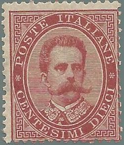 Kingdom of Italy, 1879 - Umberto I, 10 Cent carmine – Sassone No. 38