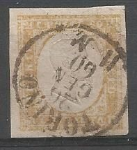 Sardinia 1855-1863 - 80 cent Yellow and pale ochre - Sassone No.  17A