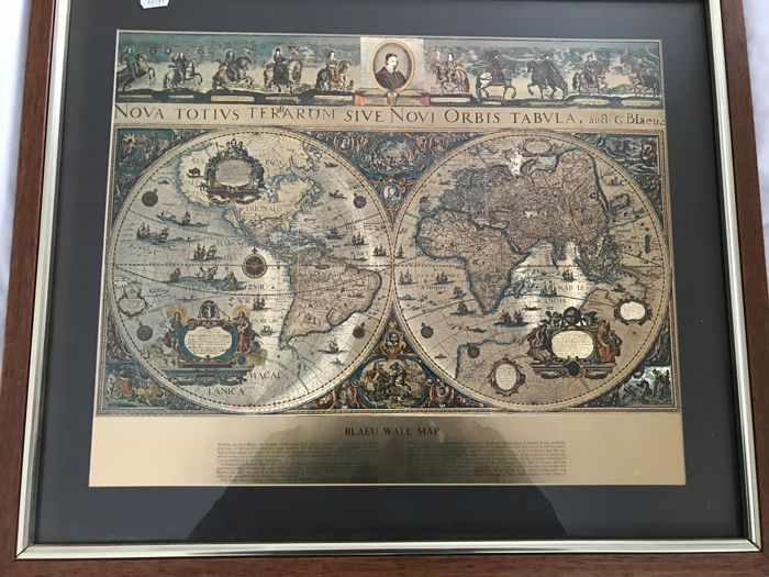 Vintage framed Blaeu Wall on golden foil - The Map of the Old and New World