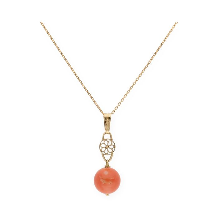 Yellow gold 18 kt (750/000) - Choker with pendant - Natural Pacific coral 8.80 mm (approx)