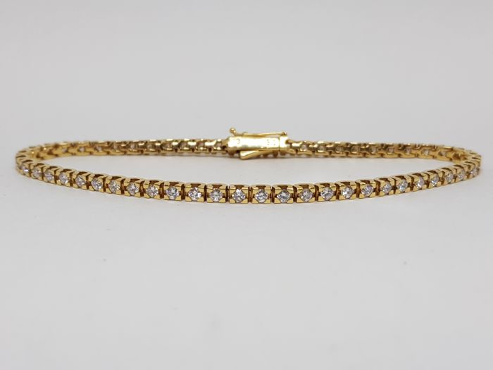 Diamond Tennis Bracelet 3,36ct. 18K Yellow Gold - Length: 18,5cm