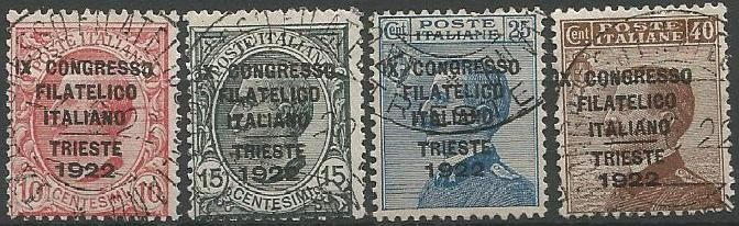 Kingdom of Italy 1922 - 9th philately congress, overprinted, complete set, Sassone: 123-126