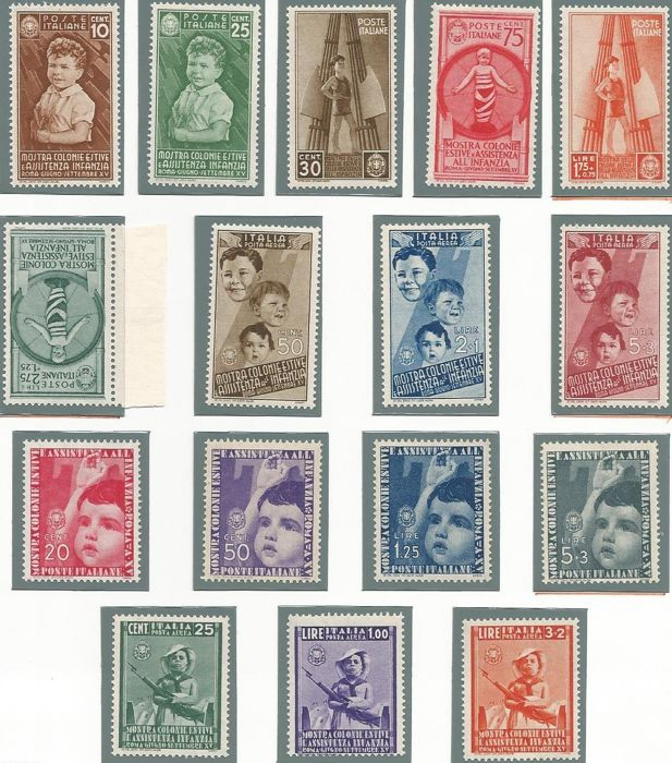 Kingdom of Italy 1937 - Summer colonies complete series of ordinary mail and airmail - Sass. No. 406/415 and A100/A105