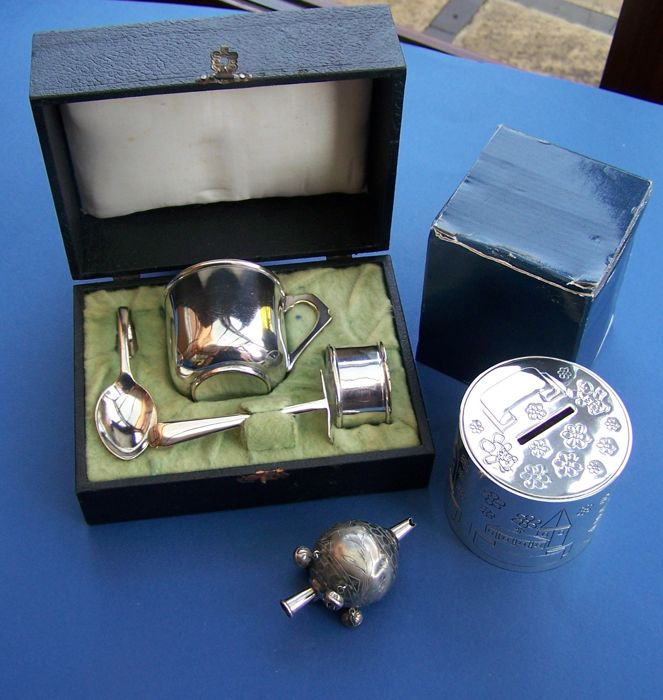 Vintage English Silver Plated Cased Christening Set + Victorian Rattle + Silver Plated Childs Money Box