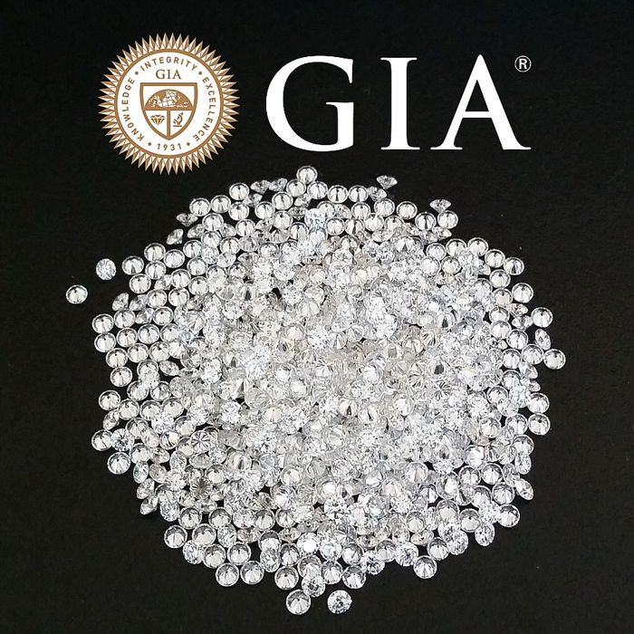 371 pcs Diamantes - 7.97 ct - Redondo - D (incoloro), E, F - VS1, VS2, VVS2