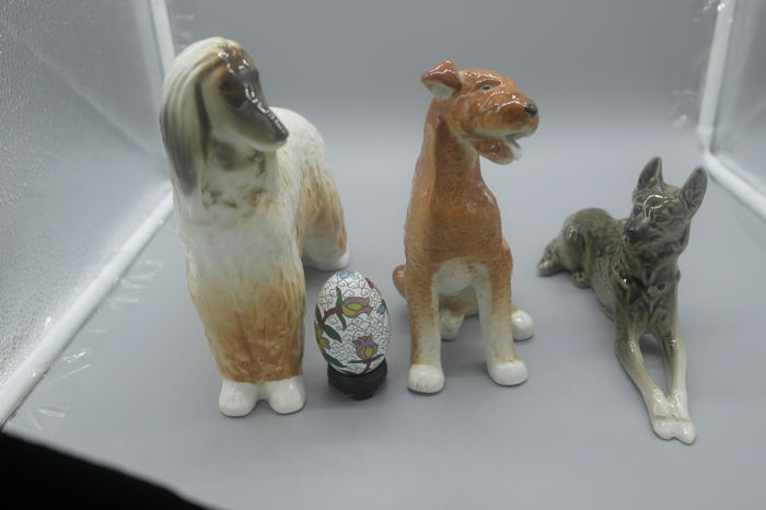 3 Lomonosov dog figurines