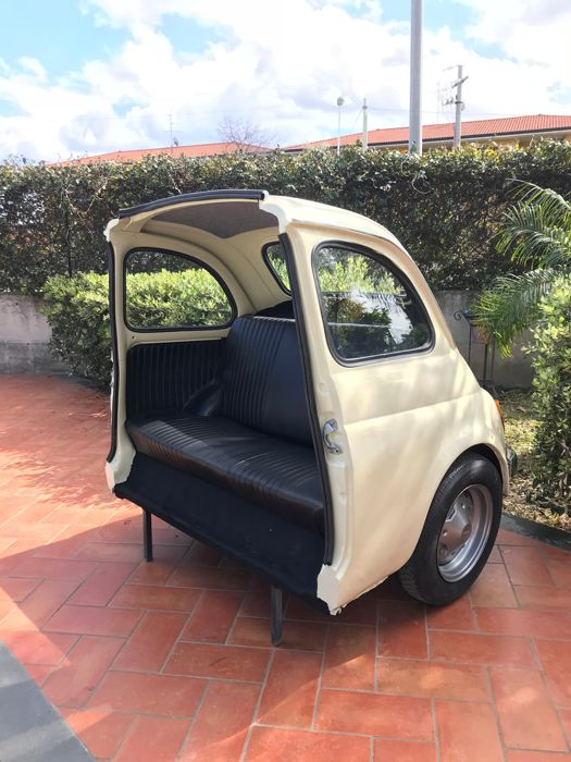 Fiat 500 Sofa with working lights and remote controller. With a rear storage cabinet.