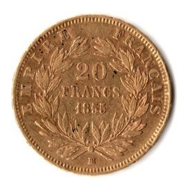 "France - 20 Francs 1855 VF ""dog's head"" variety - Napoleon III - gold"