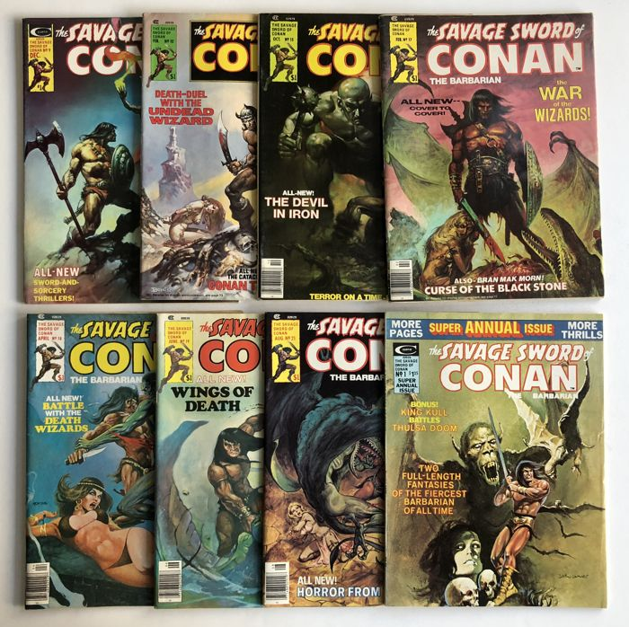 Marvel Comics - 8 magazines The Savage Sword Of Conan #9, #10, #15, #17, #18, #19, #21 & Annual #1 - 8x sc -1st print - High Grade - (1975/1977)
