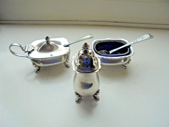 3-piece English silver plated condiment set with blue glass inserts