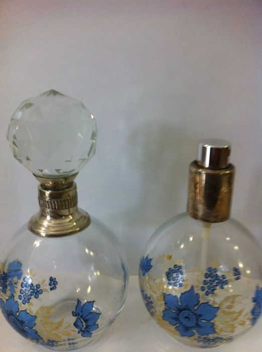 Art Deco Perfume bottles, Glass with Silver Clasp Florence (Italy), 20th century