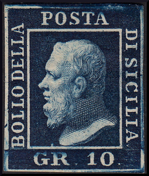 Sicily 1859 - 20 grana Dark blue - Sassone No. 12