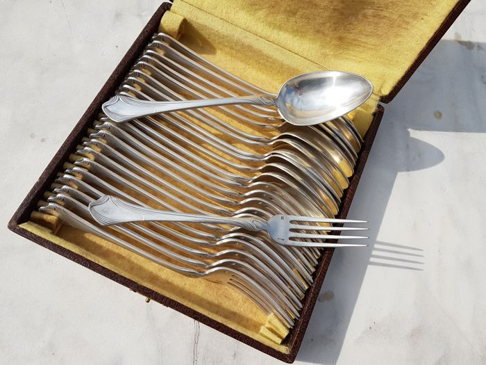 "exceptional set of 24 art deco utensils, ""Gramont"" model,  Bruno MOHRING, 1902, for Christofle brand"
