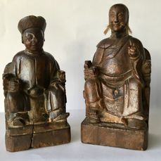 Two wooden Taoist figures - China - ca. 1900