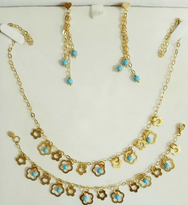 Set of choker, bracelet and earrings of 18 kt gold and turquoises