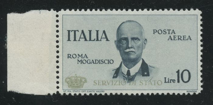 "Kingdom of Italy, 1934 - Flight from Rome to Mogadishu with gold overprint ""State Service"" and Small Crown - Sassone No. 2"