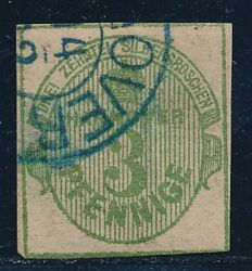 """Hanover - 1863 - """"nominal value and crown in oval"""", 3 Pfg. olive-green cut, Michel 20"""