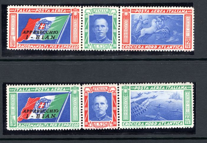 "Italy Kingdom 1933 - Air Post, Balbo's Transatlantic Flight Issue - Pair of Trios ""I-BIAN"" Overprint - Sass. NN. 51B/52B"