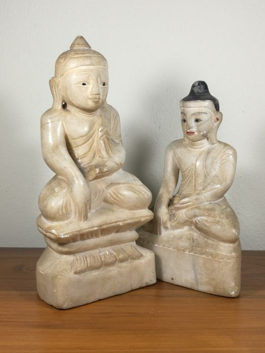 Two marble Buddhas - Burma - 2nd half 20th century