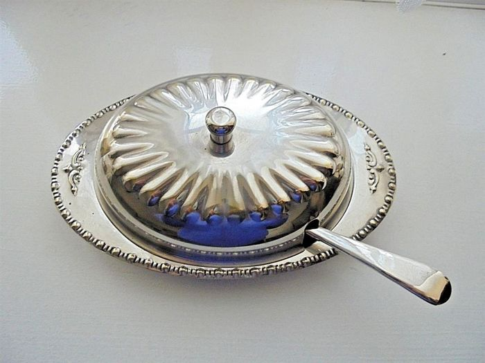 English silver plated butter dish with dome lid and glass insert