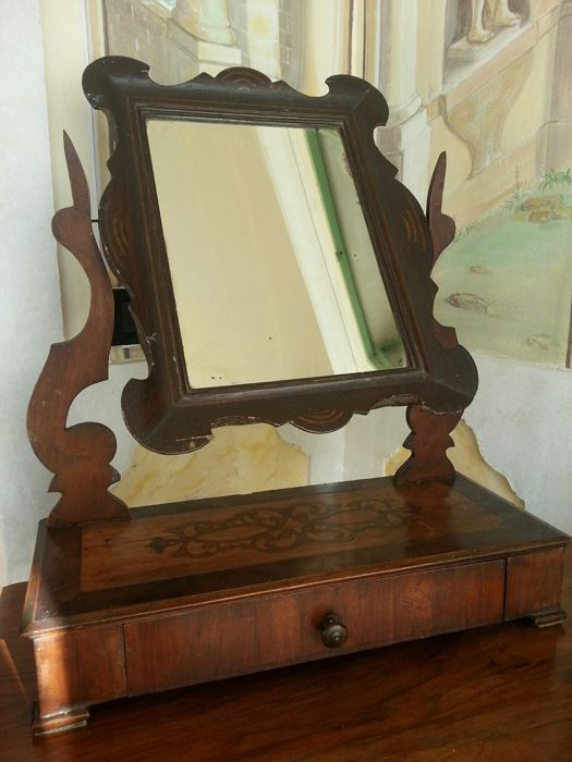 Table mirror made of walnut with inlay Veneto (Italy) mid 1800