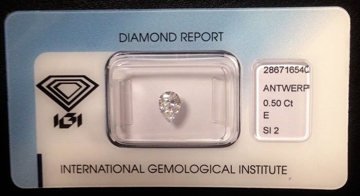 Natural Diamond for 0.53 ct - Colour: E, clarity: SI2. Pear Cut