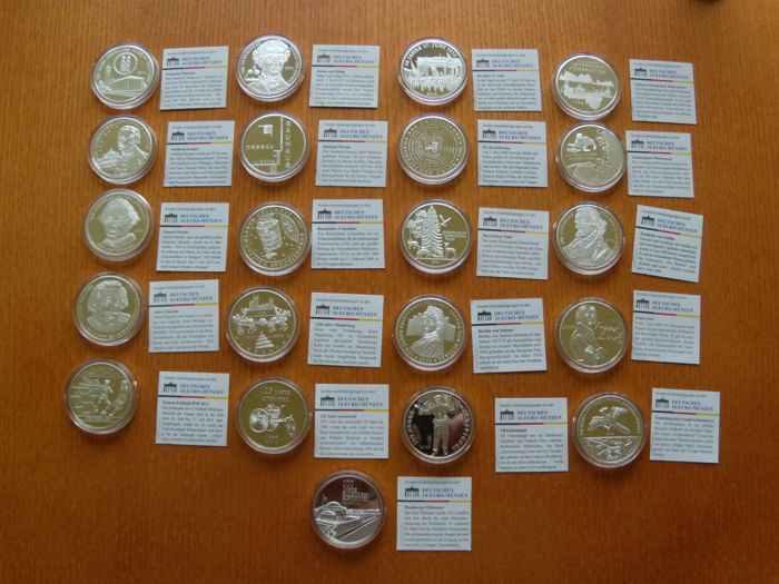 Germany - 10 euros 2002/2011 - 21 pieces with special certificate - memorial minting