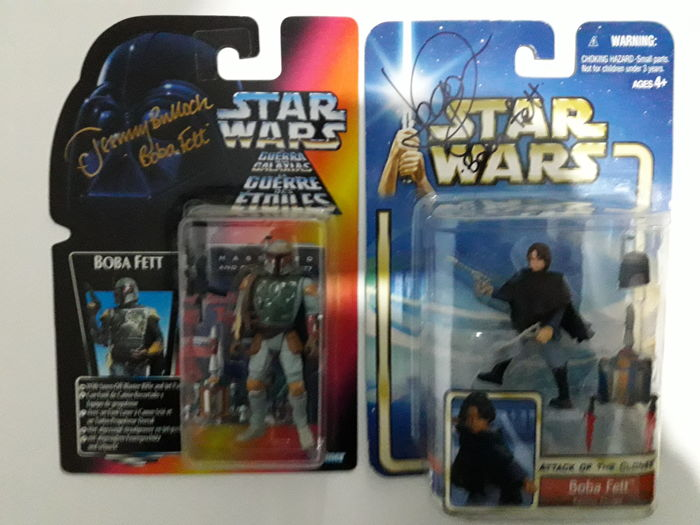 Star Wars - 2 Signed Fett figures - Jeremy Bulloch + Daniel Logan.