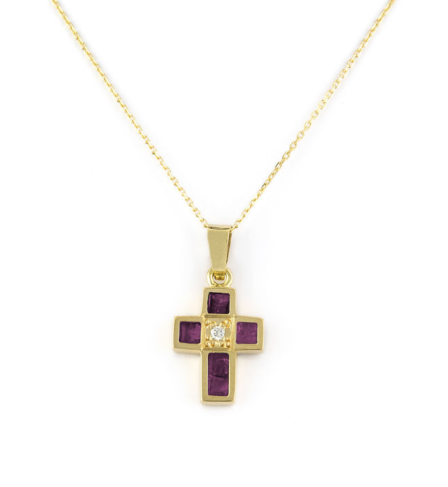 Yellow gold (18 kt/750) - Choker with cross-shaped pendant - Diamonds 0.02 ct - Rubies 0.80 ct - Pendant height: 18.05 mm