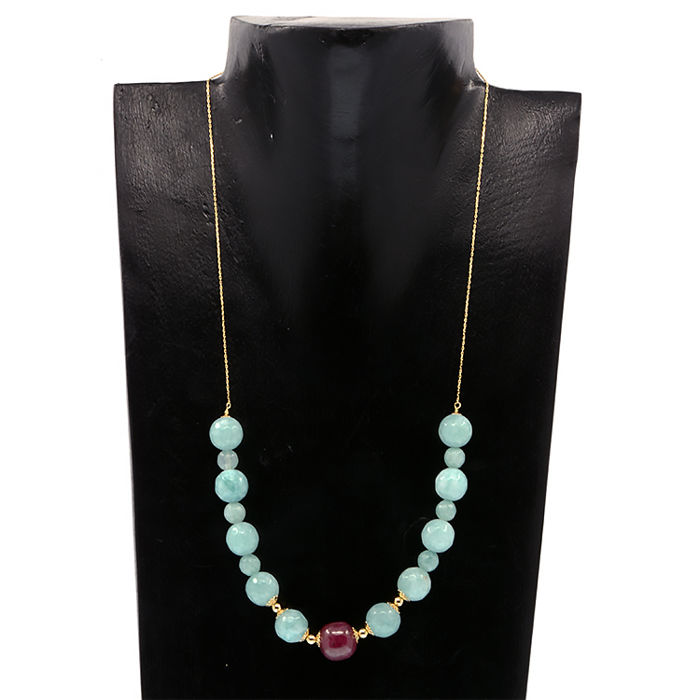 18k/750 yellow gold necklace with aquamarines and ruby - Length 47 cm.