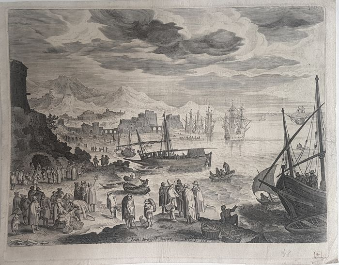 Aegidius Sadeler II (1570–1629) After Breughel - Harbour scene, early impression