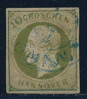 "Hannover - 1861 - ""King George V.""  10 g Dark green olive, Michel 18"