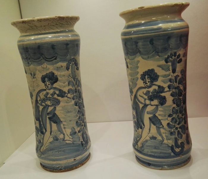 Two majolica Albarello vases painted with blue decorations Made in Montelupo F.