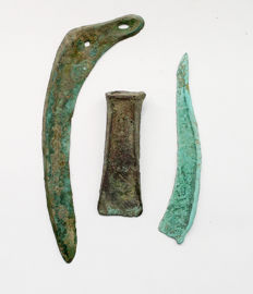 Bronze Age, Bronze Sickle - 200 mm, Bronze Socketed Axehead - 100 mm, Bronze Knife - 145 mm