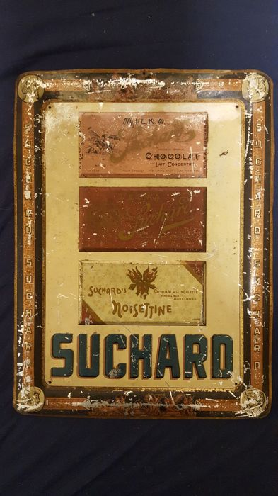 Stamped metal plate for Suchard - embossed plate - chocolate bar - 50s