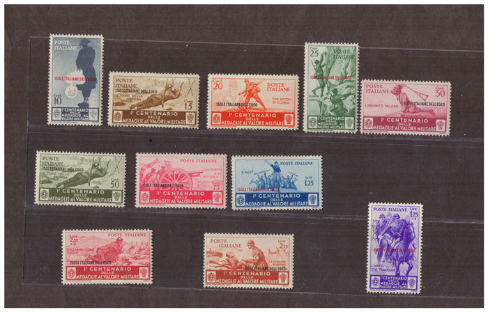 Aegean, 1934 - Complete Medals series in Ordinary Mail and Airmail - Sassone No. 80-90 and A38-46