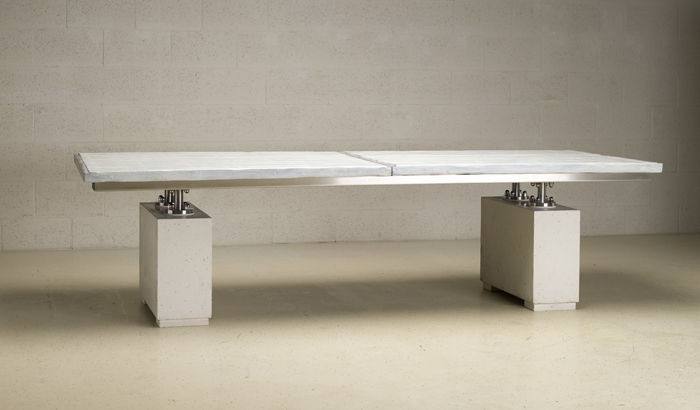 Tafel Hout Staal : Rob schipper grote tafel unica in beton hout en staal catawiki