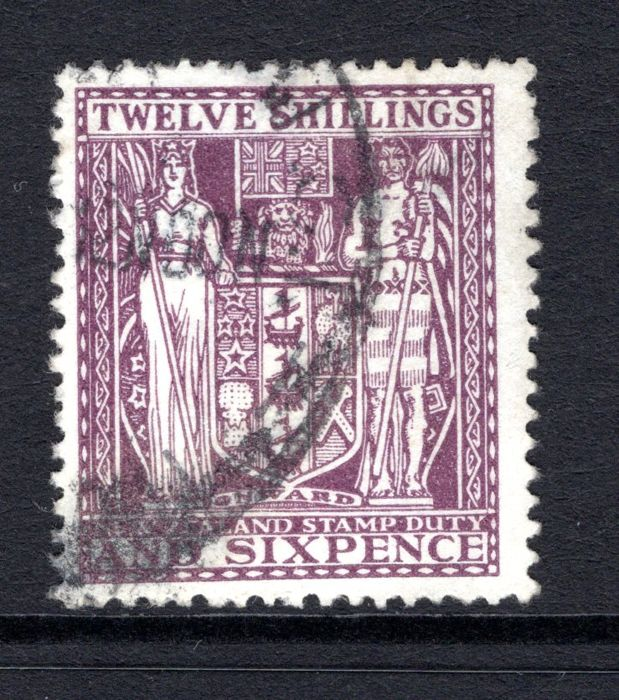 New Zealand, 1935 - 12/6 Arms Issue, Deep Plum Postal Fiscal