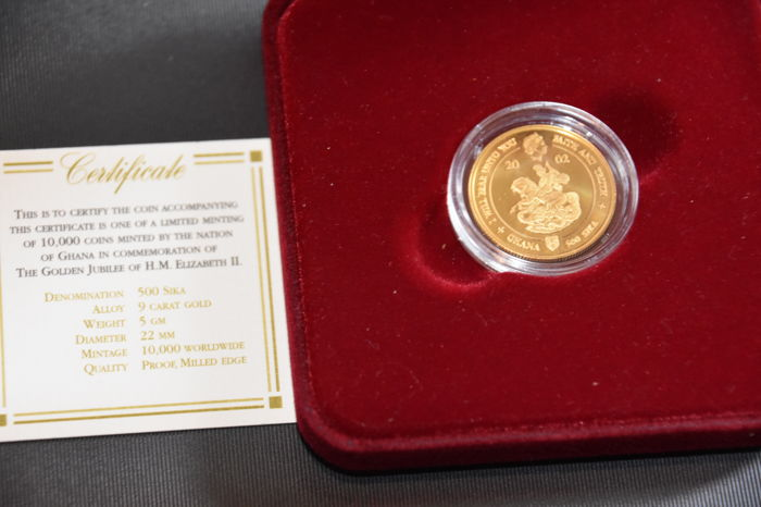 Ghana - 500 Sika 2003 - The Golden Jubilee of Queen Elizabeth II - 9k gold