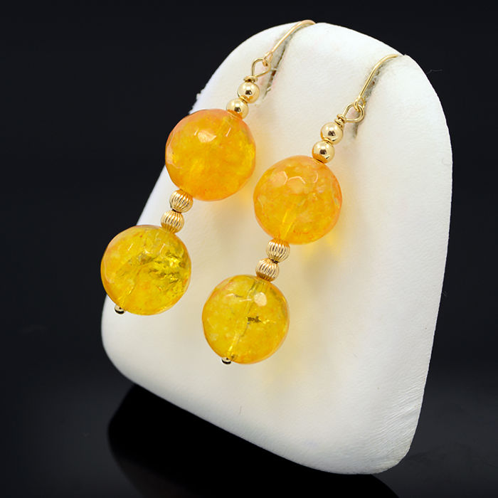 18kt/750 yellow gold earrings with citrine – Length 48 mm.