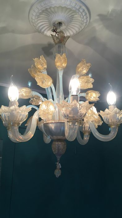 Murano (Not Attributed) - Vintage floral chandelier with gold leaf and 'opalescent' glass