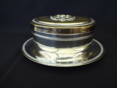 Oval napkin box with matching dish - silver plated - 1900 - England
