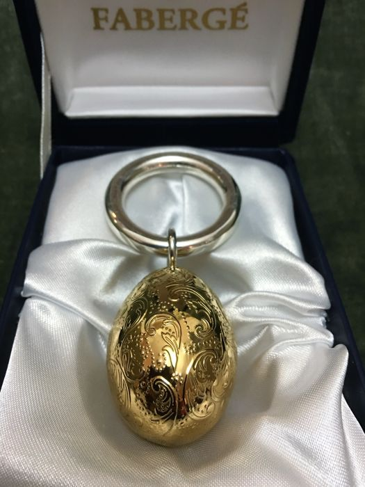 Faberge Imperial Egg Baby Rattle, Sterling silver and covered with 24K gold
