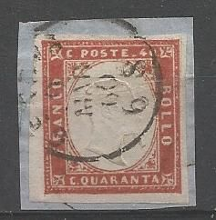 Sardinia 1855-1863 - 40 cent carmine on fragment - Sassone no. 16Ca