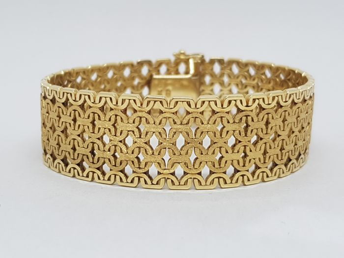 Ladies Bracelet - 18K Yellow Gold - Special Mat / Shiny Finish - Length: 18,5 cm