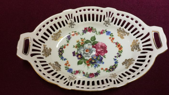 Antique, Ornate Reticulated Dish, Porcelain Factory / Painting, Putz Tiefengrün