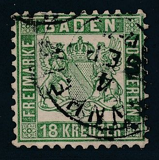 Baden 1862 - 18 Cruiser Dark Opal Green - Michel Michel 21b