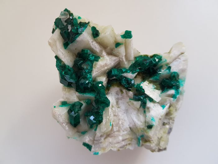 Fine Green Dioptase crystals on matrix - 70x80x75 mm - 451 gm