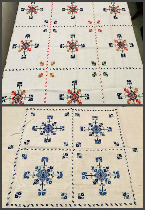 2 beautiful old tea tablecloths handmade of linen and cotton with embroidery