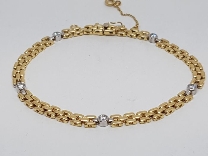 Diamond Tennis Bracelet 0,75ct. 18K Yellow & White Gold - Length: 20,5 cm